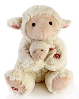 """Мягкая игрушка Fluffy Family Мама и малыш """"Овечка"""" искусственный мех белый 26 см 681018"""