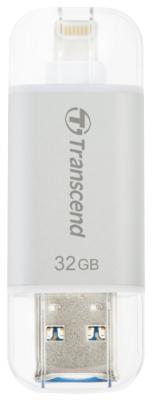 Флешка USB 32Gb Transcend JetDrive Go 300 TS32GJDG300S белый/серебристый карта памяти 128gb transcend jetdrive lite 130 ts128gjdl130 для macbook air 13 l10 e14