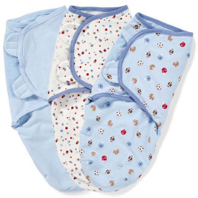 Конверты для пеленания на липучке размер S/M 3 шт. Summer Infant Swaddleme (голубой/спорт/55220)