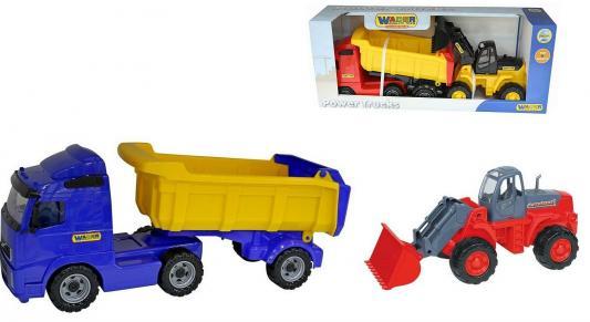 Самосвал Wader с полуприцепом + трактор-погрузчик синий 2 шт 85.5 см 0384 wader трактор гигант