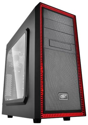 Корпус ATX Deepcool Tesseract SW Red Без БП чёрный красный стяжка кабельная abb 215х4 8мм белая 100шт