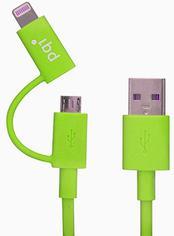 Переходник PQI i-Cable Du-Plug 90 USB/microUSB-Lightning зеленый 6PCG-008R0016A  6PCG-008R0016A