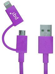 Переходник PQI i-Cable Du-Plug 90 USB/microUSB-Lightning пурпурный 6PCG-008R0017A  6PCG-008R0017A