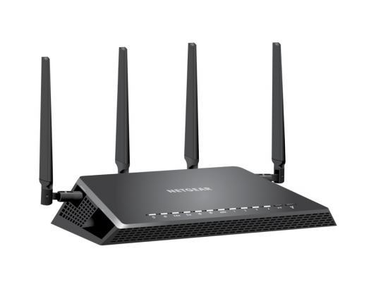 Беспроводной маршрутизатор NetGear R7800-100PES 802.11ac 2533Mbps 2.4 ГГц и 5 ГГц 4xLAN черный беспроводной маршрутизатор netgear r7100lg 100eus 802 11aс 1900mbps 5 ггц 2 4 ггц 4xlan usb черный