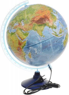 Глобус Земли физико-политический рельефный с подсветкой 320 серия Евро Globen Ке013200233 глобус физико политический d 320 мм напольный с подсветкой