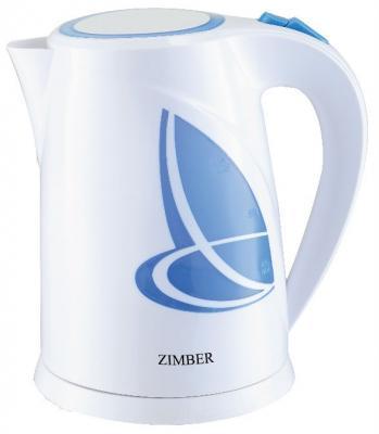 Чайник Zimber ZM-11077 2200 Вт белый синий 1.8 л пластик чайник zimber zm 11077