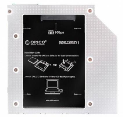 Адаптер HDD в отсек оптического привода ноутбука Orico L95SS-SV  2.5 SATA черный корпус для hdd orico 9528u3 2 3 5 ii iii hdd hd 20 usb3 0 5