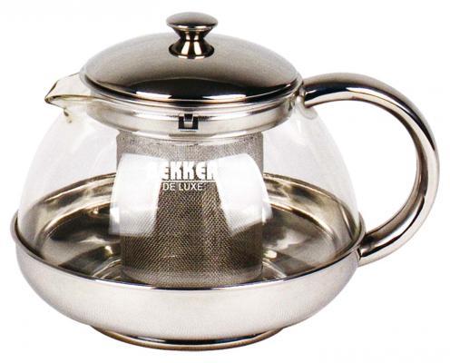 Чайник заварочный Bekker Deluxe BK-398 серебристый 0.75 л металл/стекло