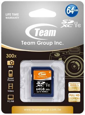 Карта памяти SDXC 64GB class 10 Team TSDXC64GUHS01 sdxc
