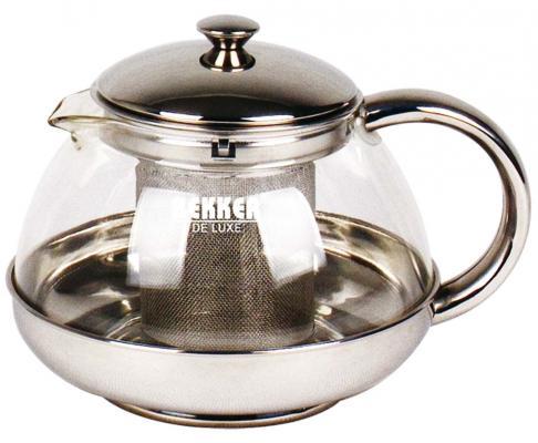 Чайник заварочный Bekker Deluxe BK-399 прозрачный 1 л металл/стекло
