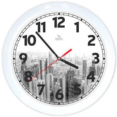 Часы настенные Вега П 1-7/7-214 Город белый чёрный