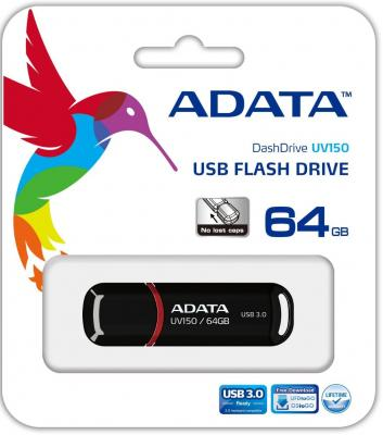 Флешка USB 64Gb A-Data UV150 USB3.0 AUV150-64G-RBK черный usb flash drive 128gb a data uv150 usb 3 0 black auv150 128g rbk