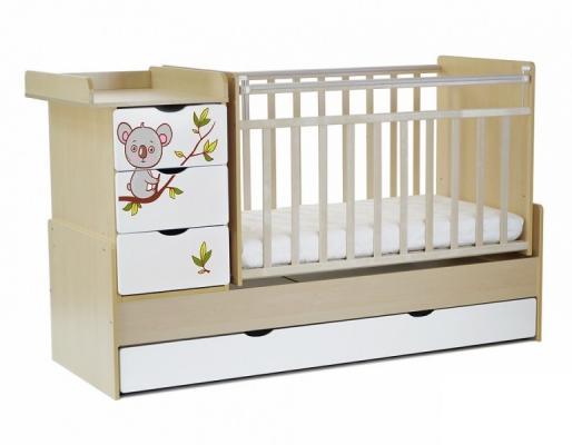 Кроватка-трансформер СКВ-5 4 ящика (береза-белый/фотообои коала/521035-1)