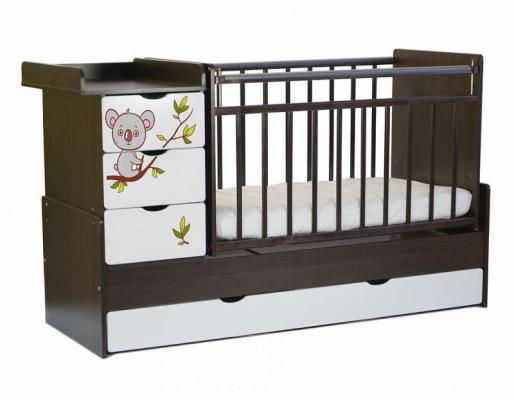 Кроватка-трансформер СКВ-5 4 ящика (венге-белый/фотообои коала/521038-1)