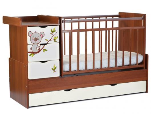 Кроватка-трансформер СКВ-5 4 ящика (орех-белый/фотообои коала/521037-1)