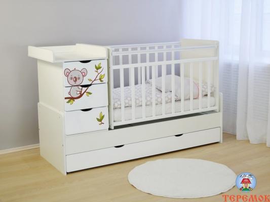 Кроватка-трансформер СКВ-5 4 ящика (белый/фотообои коала/521031)