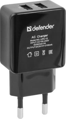 Сетевое зарядное устройство Defender UPA-12 2х USB 2.1A черный 83531