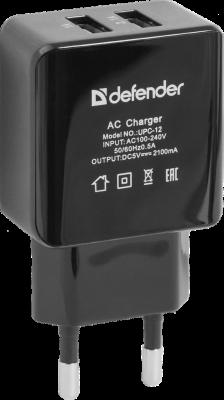 Сетевое зарядное устройство Defender UPC-12 2х USB 2.1A черный