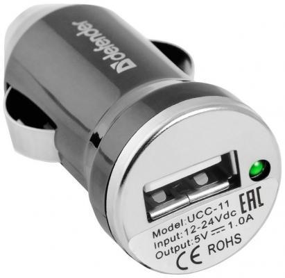 Автомобильное зарядное устройство Defender UCC-11 USB 1A черный