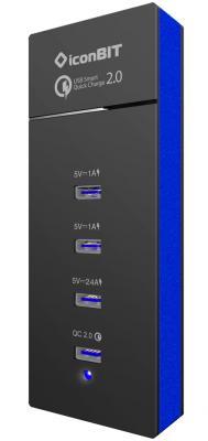 Сетевое зарядное устройство IconBIT FTB4U6QC 4 x USB 2.4А черный