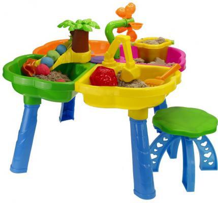 Песочный набор RT Kinderway стол, стул, ведерко, сито, лопатка, грабли, пасочки 01-121