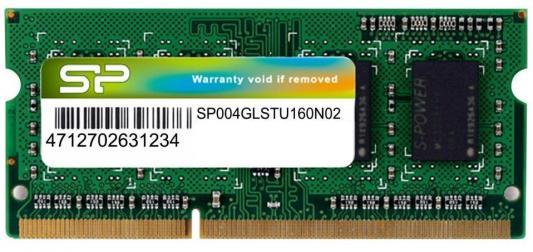 Оперативная память для ноутбуков SO-DDR3 4Gb PC12800 1600MHz Silicon Power SP004GLSTU160N02
