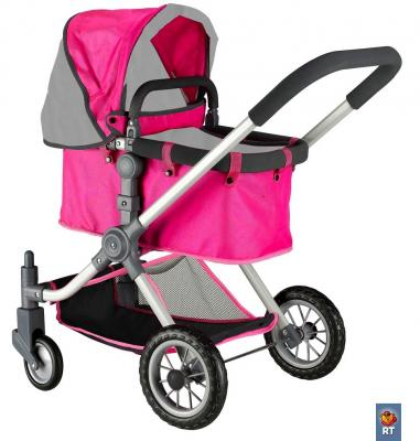 Коляска для кукол RT цвет фуксия+серый 646 коляска для кукол bayer design тренди цвет серый розовый