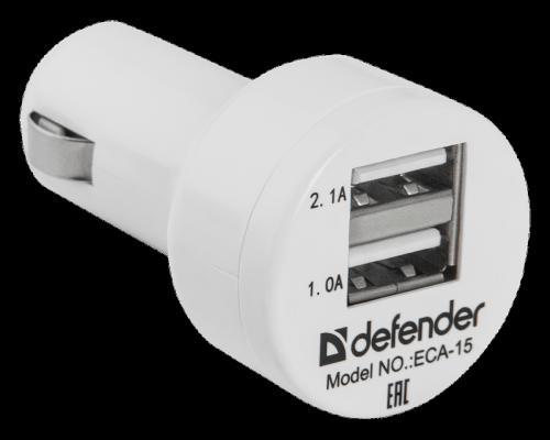 Автомобильное зарядное устройство Defender ECA-15 2 х USB 2.1/1А белый цена и фото