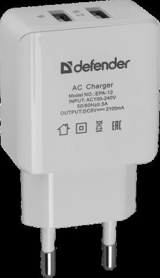 Сетевое зарядное устройство Defender EPA-12 2 х USB 2А белый 83530 сетевое зарядное устройство defender epc 21 2 х usb 2 1a белый 29701