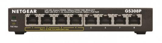 Коммутатор NETGEAR GS308P-100PES неуправляемый 8 портов 10/100/1000Mbps