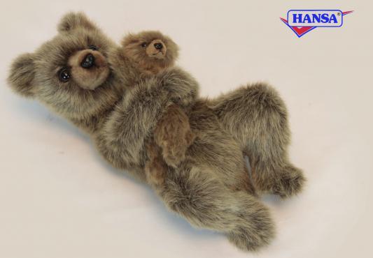 Мягкая игрушка Hansa Медведица с медвежонком искусственный мех коричневый 33 см 6555