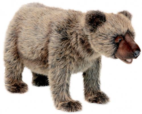 Мягкая игрушка медведь Hansa Гризли, идущий искусственный мех серый 60 см