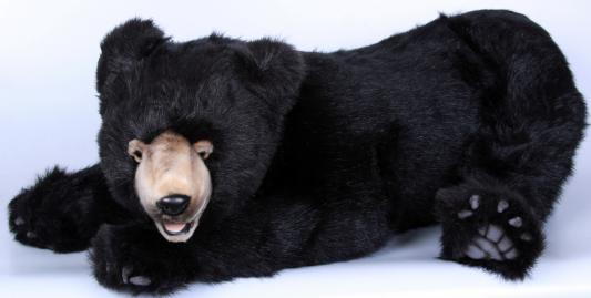 Мягкая игрушка медведь Hansa 4982 искусственный мех черный 90 см лежащий