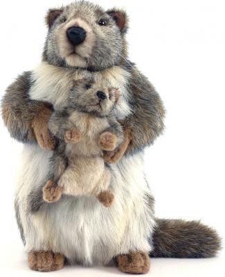 Мягкая игрушка Hansa Сурок с детенышем искусственный мех серый 35 см 4162 мягкие игрушки hansa сурок с детенышем 35 см