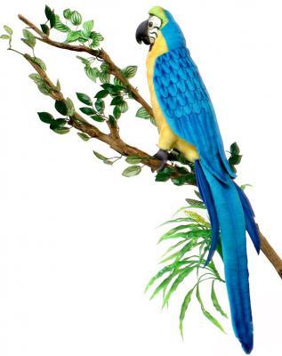 Мягкая игрушка попугай Hansa Ара искусственный мех 72 см 3068М желто-голубой