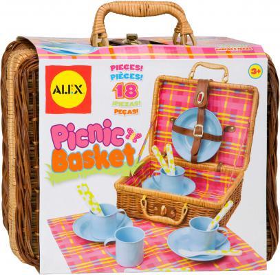 Набор посуды Alex для пикника в корзине 18 предметов 708N