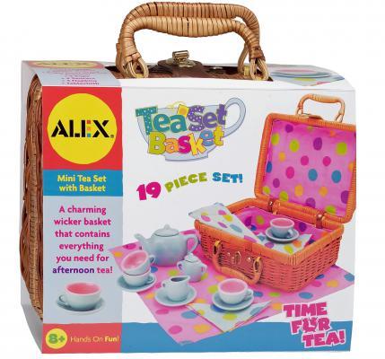 Чайный набор Alex Горошек, в плетеном чемоданчике 709W чайный набор alex в горошек металлическая 705pd