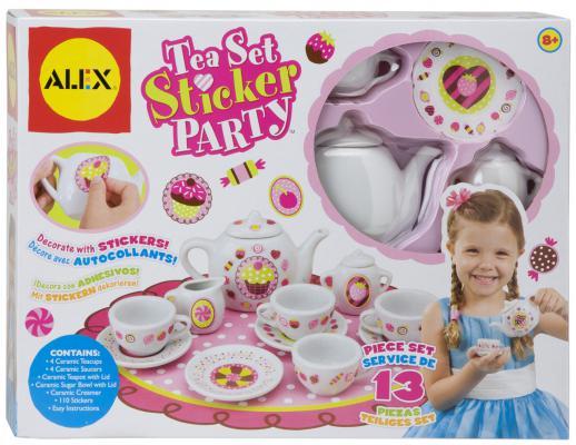 """Набор посуды Alex Сервиз форфоровый """"Веселое чаепитие"""" для декора стикерами, 13 предметов, 110 стикеров 171C"""