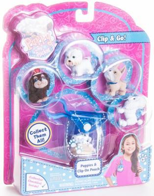 """Игровой набор Just Play """"Puppy in my Pocket"""" - Брелок-сумочка со щенками 6 предметов голубой"""