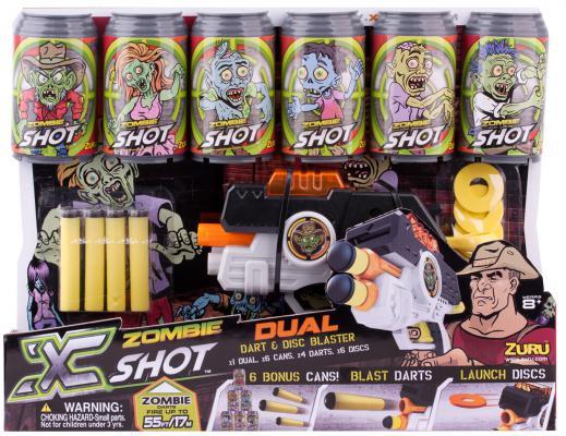 Бластер X-shot Зомби Бластер Двойной выстрел 6 банок-мишеней 01163