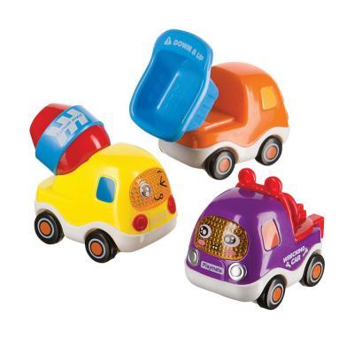 Купить Интерактивная игрушка Happy Baby Набор веселых грузовичков Cars4fun с инерционным механизмом от 6 месяцев разноцветный 330066