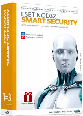 Антивирус ESET NOD32 Smart Security продление на 20 месяцев или новая на 12 мес на 3 устройства NOD32-ESS-2012RN(BOX)-1-1 антивирус