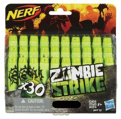 Набор стрел для бластеров Nerf Зомби Страйк 30 шт зеленый черный для мальчика A4570 набор стрел для бластеров nerf аккустрайк оранжевый