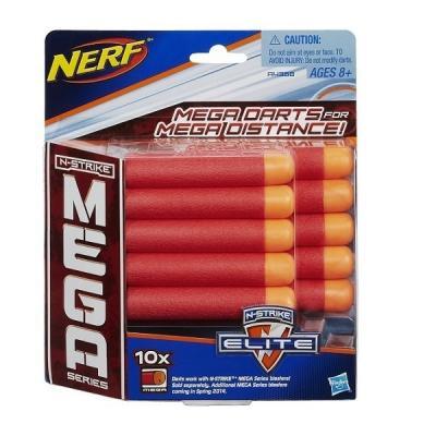 Набор стрел для бластеров Nerf МЕГА 10 шт красный оранжевый для мальчика A4368