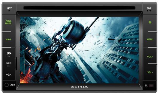 "Автомагнитола Supra SWD-6000NV 6.2"" USB MP3 CD DVD FM SD MMC 2DIN 4x50 пульт ДУ черный"