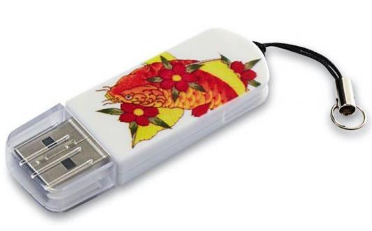 Флешка USB 32Gb Verbatim Mini Tattoo Koi 49897 USB2.0 белый с узором флешка usb 32gb verbatim mini tattoo dragon 49899 usb2 0 белый с узором