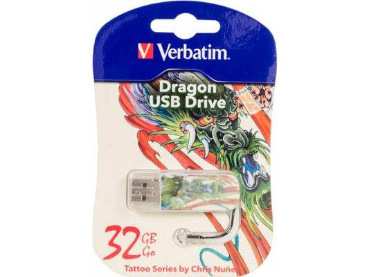 Флешка USB 32Gb Verbatim Mini Tattoo Dragon 49899 USB2.0 белый с узором флеш диск verbatim 32gb mini tattoo edition dragon 49899