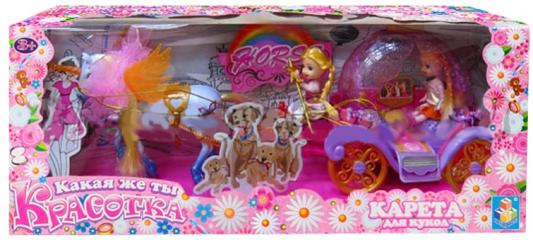 1toy Красотка карета с единорогом,2 куколки,51х12х20см,3 цв.,кор. Т58219
