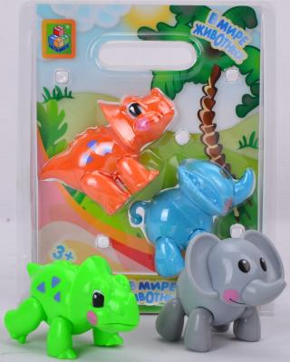 Игровой набор 1Toy В мире животных Слон и носорог/динозавр 2 предмета Т57439 в ассортименте