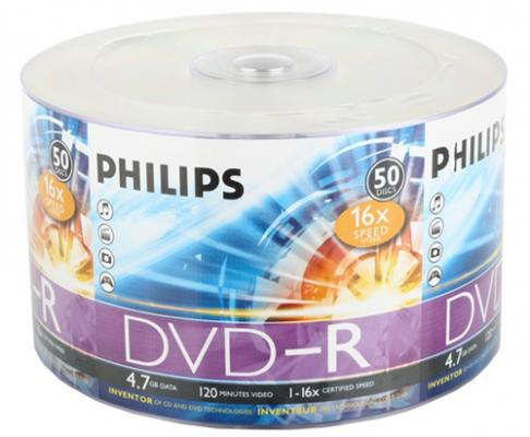Диски DVD-R Philips 16x 4.7Gb VS Bulk 50шт диск dvd r 4 7gb 16x bulk 50 шт vs